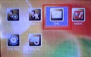 4. กดปุ่ม ลูกศรเลื่อนขวา เลือกที่เมนู SMS แล้วกดปุ่ม OK